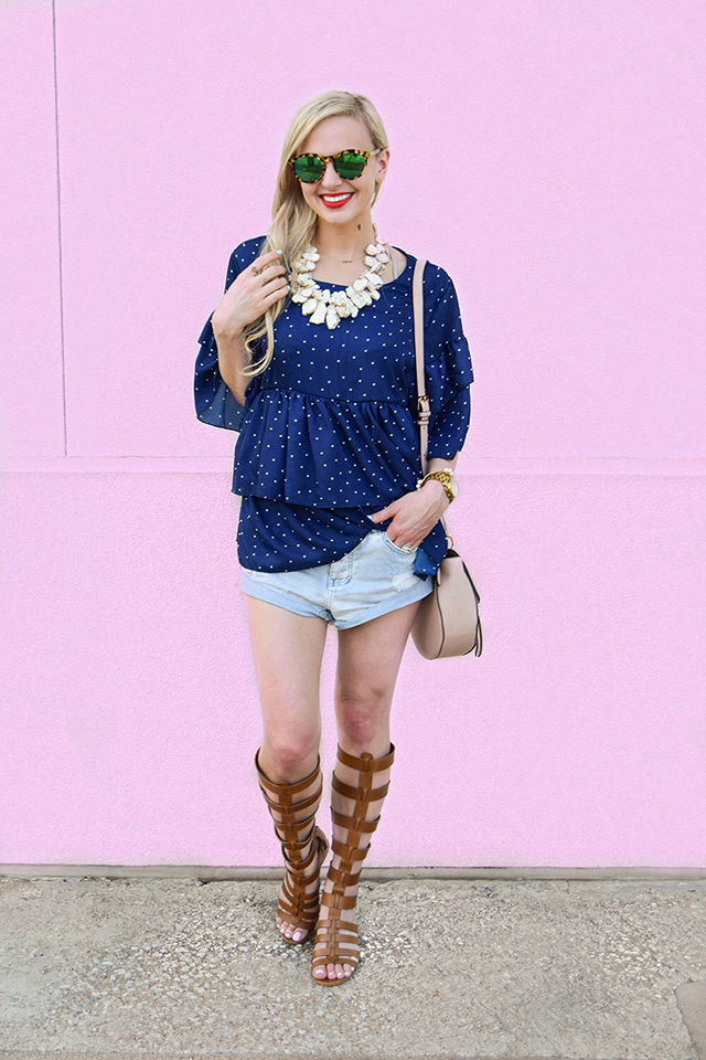 vandi-fair-blog-lauren-vandiver-dallas-texas-southern-fashion-blogger-goodnight-macaroon-lucille-blue-dotted-layered-sleeve-ruffle-top-vince-camuto-gladiator-sandals-amuse-society-cutoff-shorts-7