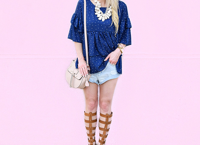 vandi-fair-blog-lauren-vandiver-dallas-texas-southern-fashion-blogger-goodnight-macaroon-lucille-blue-dotted-layered-sleeve-ruffle-top-vince-camuto-gladiator-sandals-amuse-society-cutoff-shorts