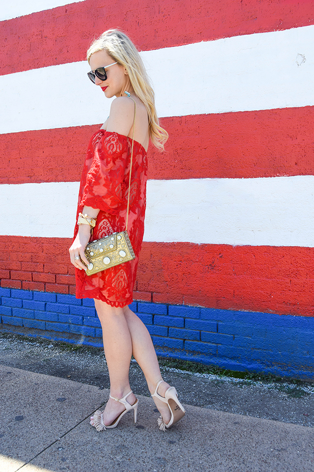 vandi-fair-blog-lauren-vandiver-dallas-texas-southern-fashion-blogger-red-lace-off-the-shoulder-dress-storee-baublebar-pharaoh-turquoise-bib-necklace-prada-retro-cat-eye-sunglasses-nude-fringe-sandals-2