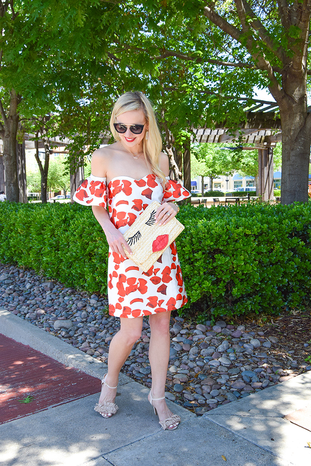 vandi-fair-blog-lauren-vandiver-dallas-texas-southern-fashion-blogger-renamed-red-petals-off-shoulder-dress-sale-shopbop-straw-clutch-nude-fringe-sandals-prada-retro-sunglasses-2