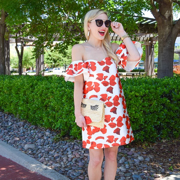vandi-fair-blog-lauren-vandiver-dallas-texas-southern-fashion-blogger-renamed-red-petals-off-shoulder-dress-sale-shopbop-straw-clutch-nude-fringe-sandals-prada-retro-sunglasses