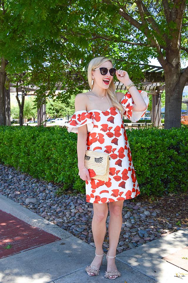vandi-fair-blog-lauren-vandiver-dallas-texas-southern-fashion-blogger-renamed-red-petals-off-shoulder-dress-sale-shopbop-straw-clutch-nude-fringe-sandals-prada-retro-sunglasses