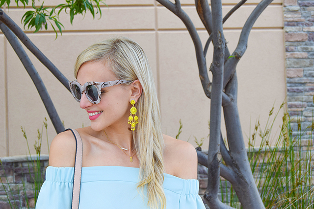 vandi-fair-blog-lauren-vandiver-dallas-texas-southern-fashion-blogger-topshop-light-blue-livi-off-the-shoulder-top-baublebar-sundrop-yellow-chandelier-earring-quay-australia-marble-cat-eye-sunglasses