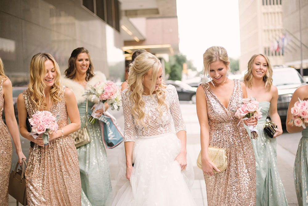 bridesmaids-dresses-rent-the-runway-badgley-mischka-rose-gold-sequin-gowns-margaret-elizabeth-earrings-8