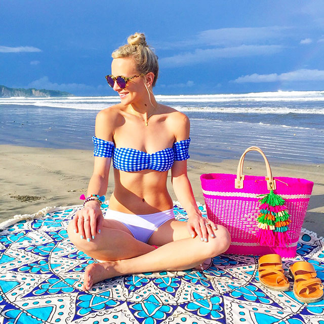 vandi-fair-blog-lauren-vandiver-dallas-texas-fashion-blogger-costa-rica-instagram-ig-round-up-shop-lauren-james-gingham-off-shoulder-bikini-top-mar-y-solibizia-pink-tassel-tote