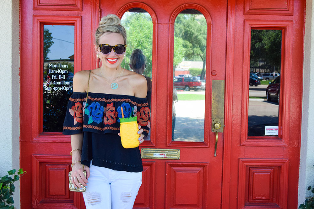vandi-fair-blog-lauren-vandiver-dallas-texas-fashion-blogger-free-people-to-the-left-embroidered-off-the-shoulder-top-baublebar-extra-large-acrylic-block-monogram-necklace-1