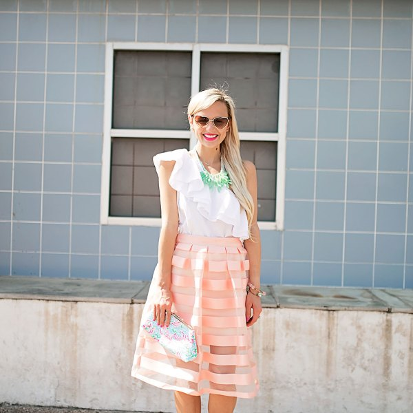 vandi-fair-blog-lauren-vandiver-dallas-texas-southern-fashion-blogger-nordstrom-topshop-pink-sheer-stripe-pleat-midi-skirt-ruffle-one-shoulder-poplin-top-baublebar-jade-reef-collar-necklace