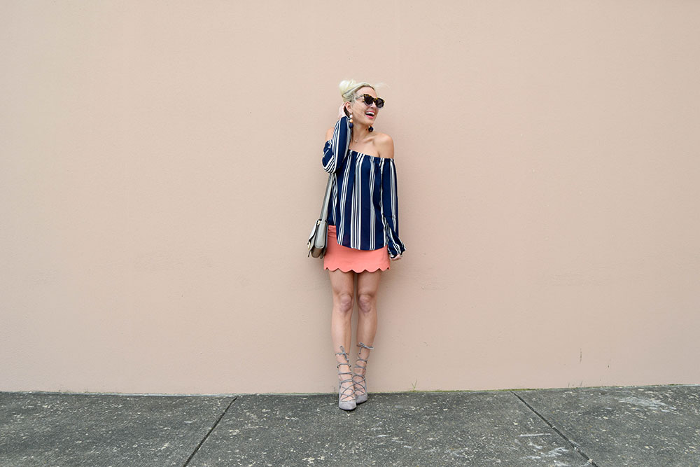 vandi-fair-blog-lauren-vandiver-dallas-texas-southern-fashion-blogger-shop-tristin-clothing-online-boutique-local-navy-nautical-striped-off-the-shoulder-top-coral-scallop-skirt-fall-outfit-1