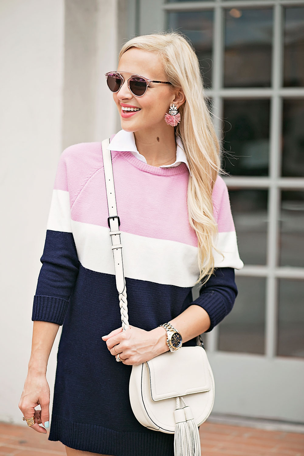 pink-navy-color-block-sweater-dress