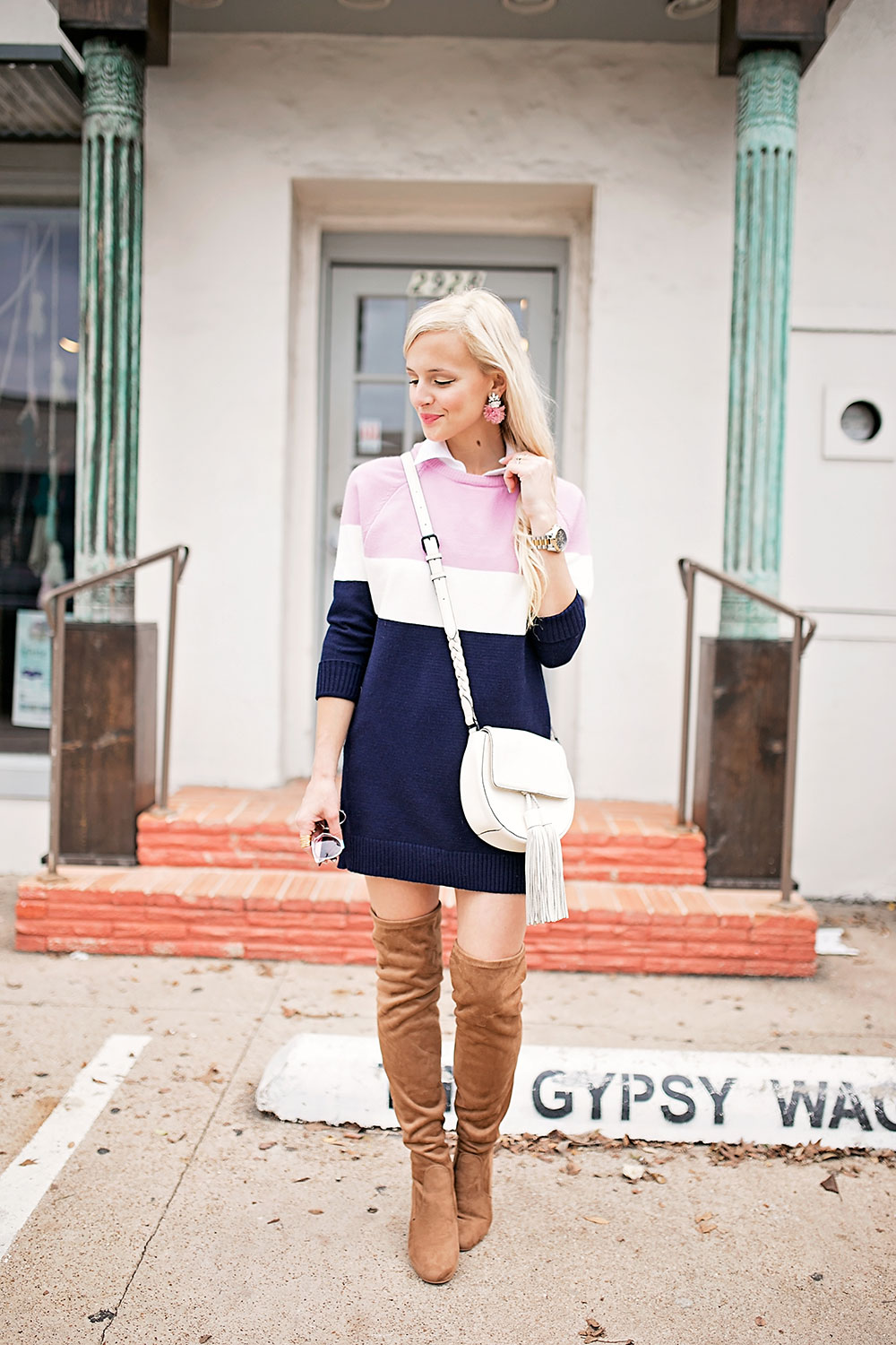 pink-navy-striped-sweater-dress-outfit