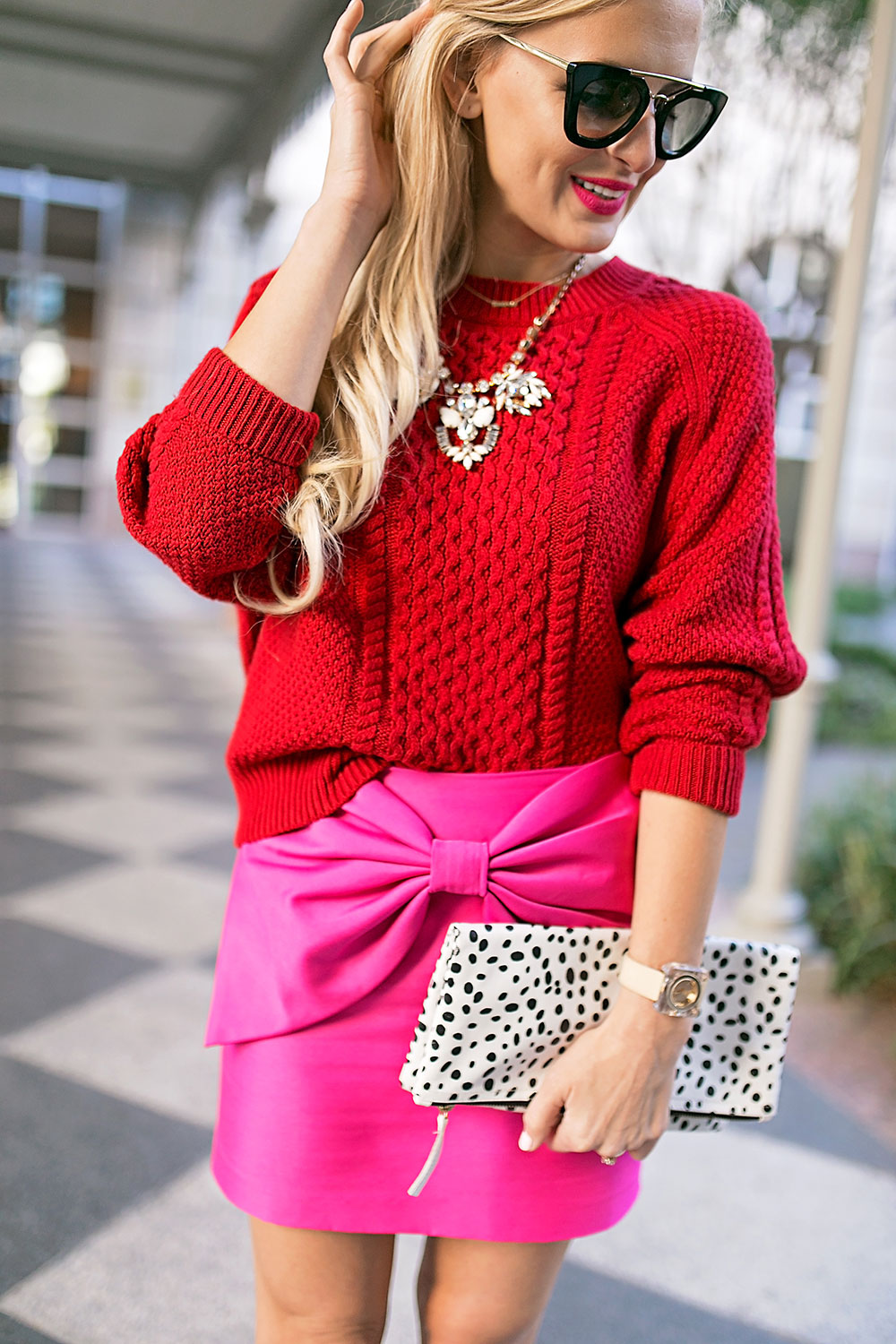 Hot Pink Mini Skirt With Oversized Bow