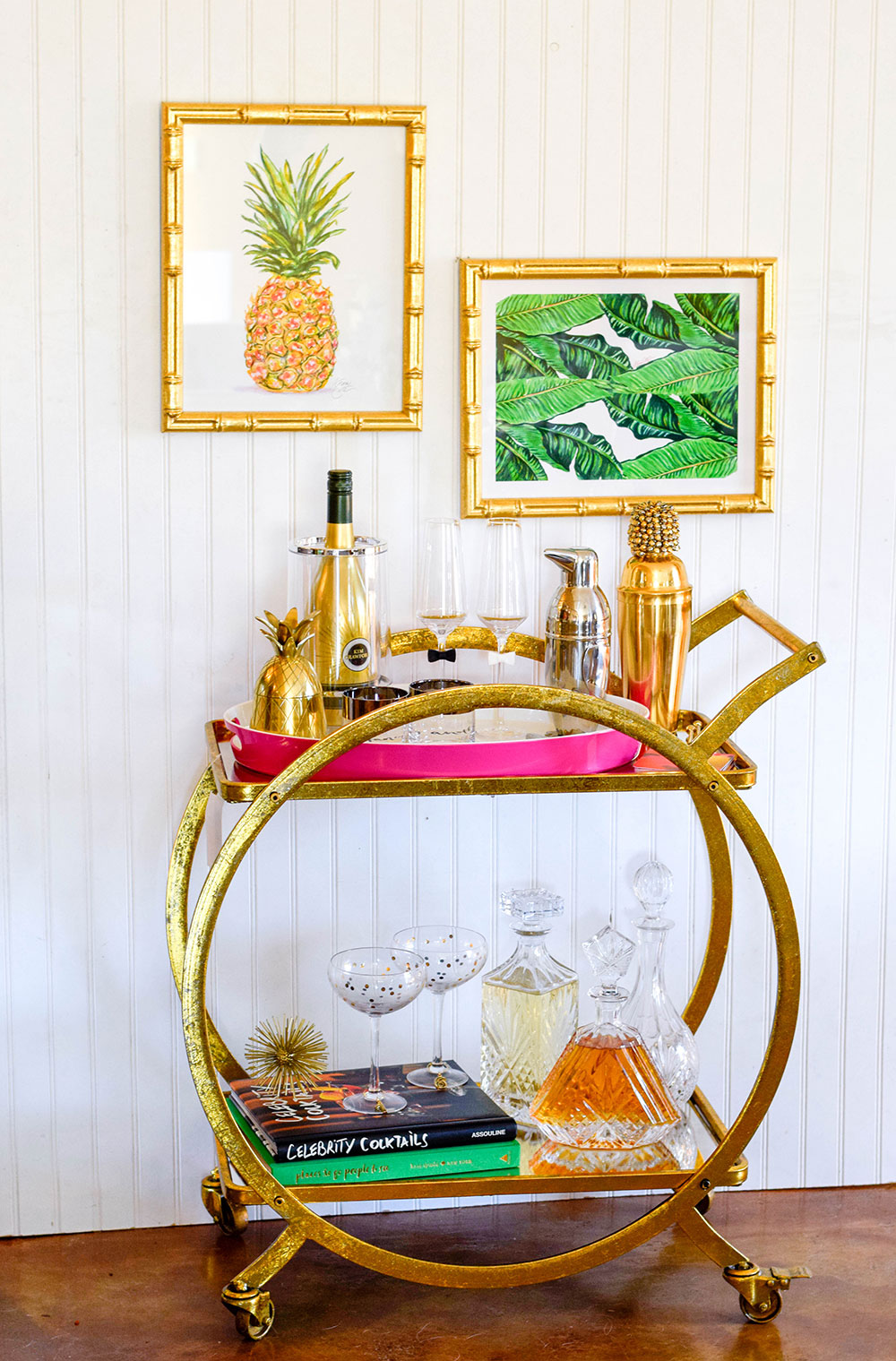 chic-gold-palm-leaf-pineapple-styled-bar-cart