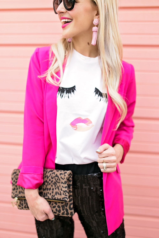 Hot Pink Blazer u0026 Black Sequin Pants Outfit