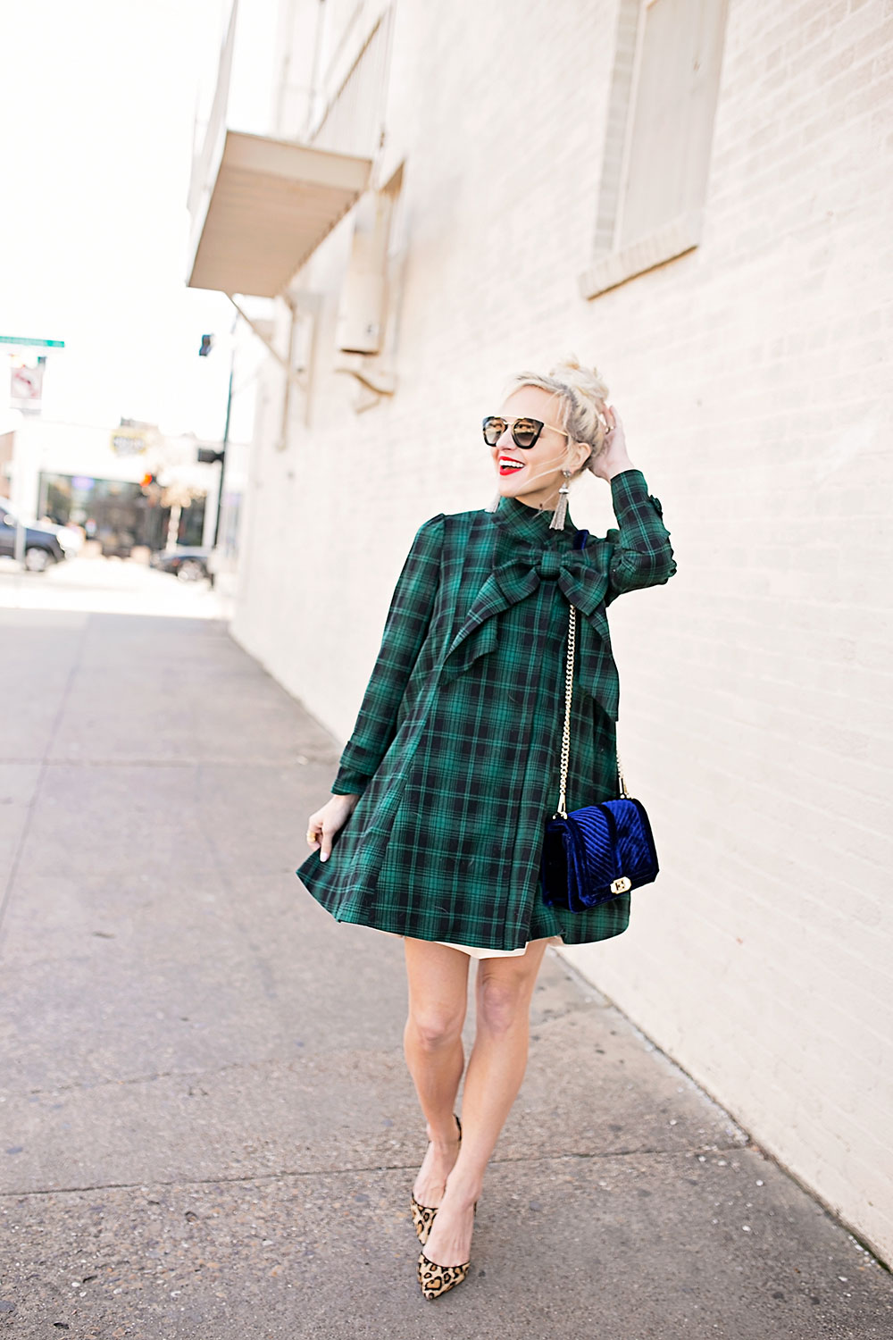 green-tartan-bow-coat-dress