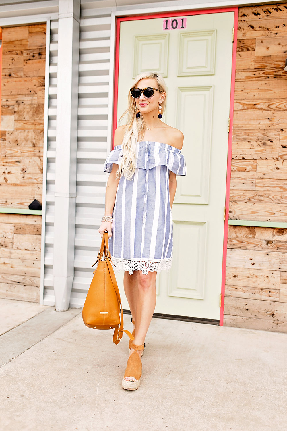 chambray-striped-lace-trim-off-shoulder-dress