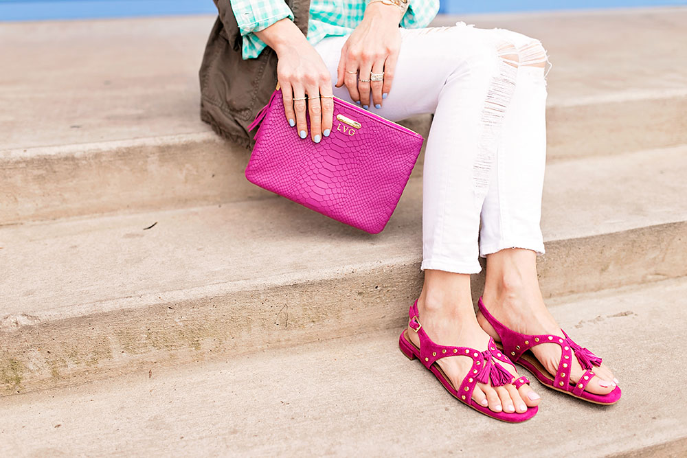 aerosoles-fuchsia-studded-gladiator-flat-sandals