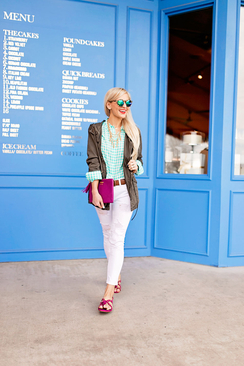blue-gingham-button-down-green-utility-jacket-jeans-outfit
