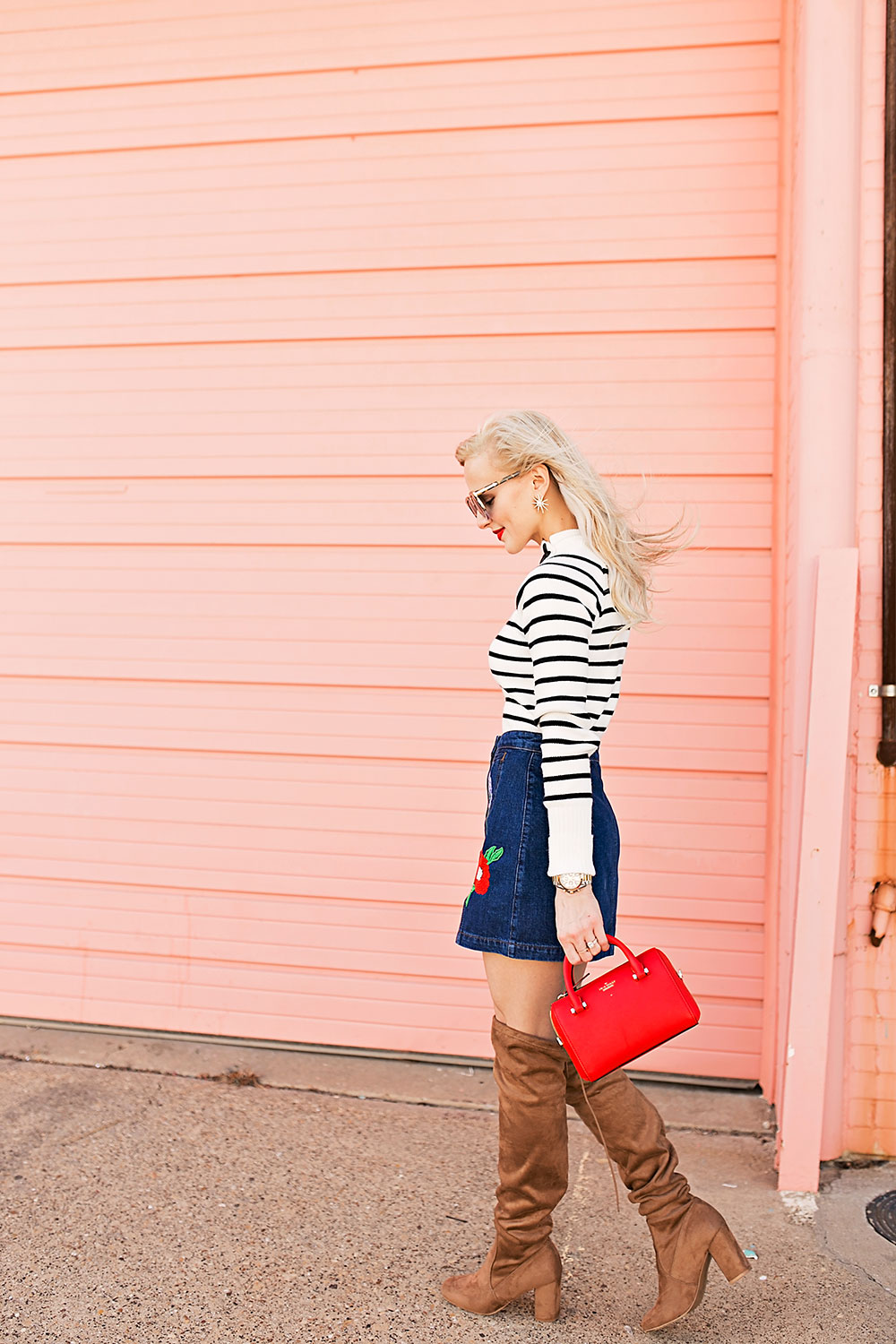 over-the-knee-boots-and-denim-skirt-spring-outfit