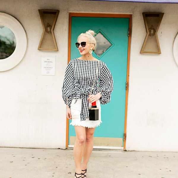 gingham-top-and-white-denim-mini-skirt-outfit