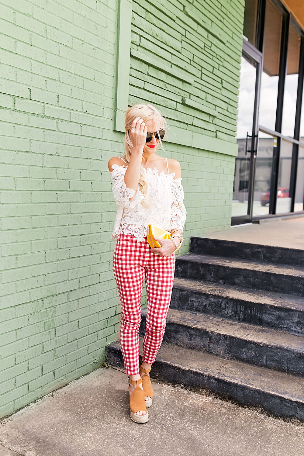 Red And White Gingham Pants