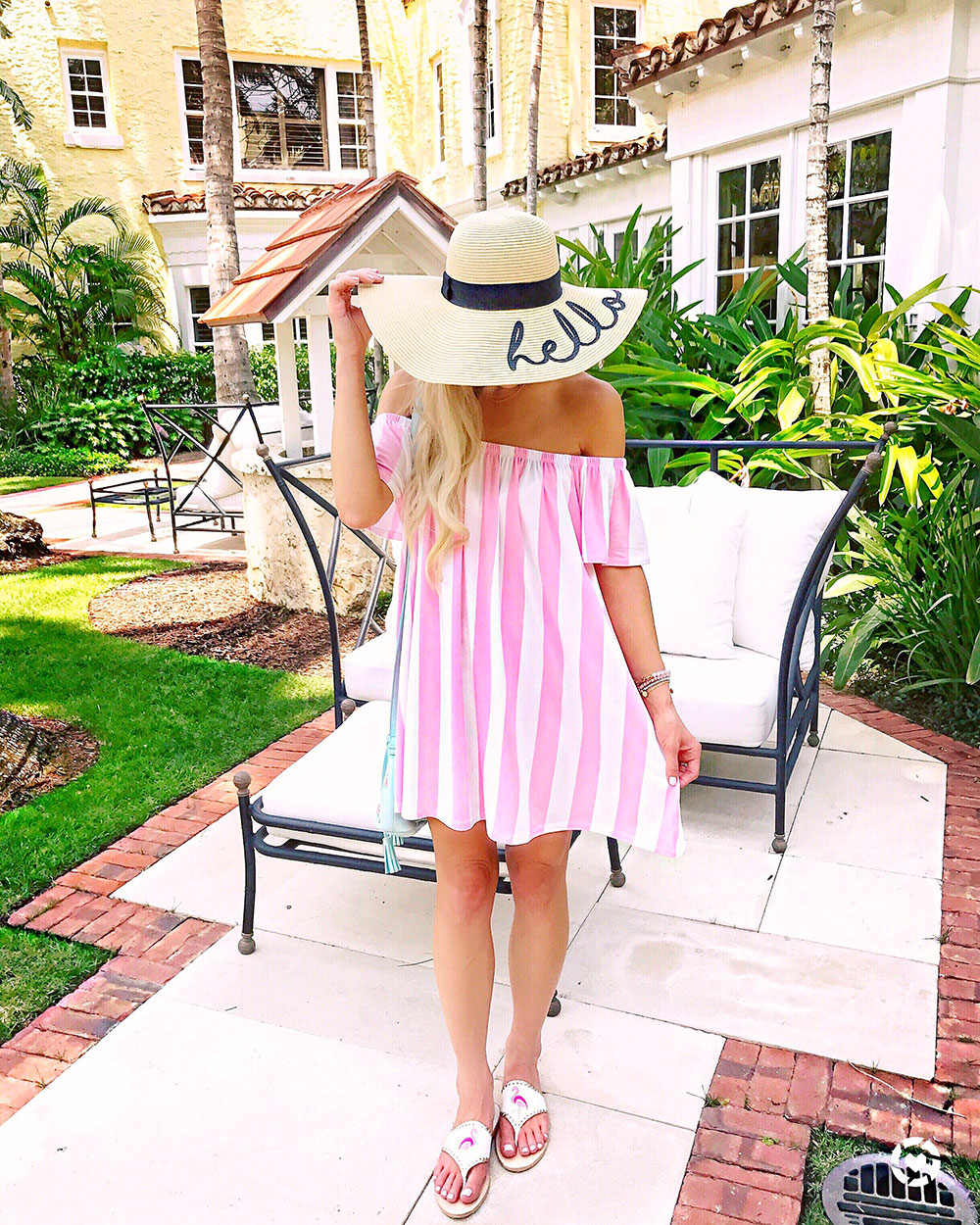 pink-and-white-striped-off-the-shoulder-dress