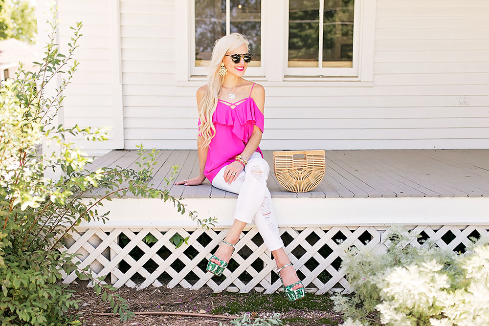 cold shoulder top with ruffles