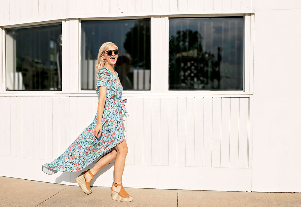 floral maxi wrap tie waist dress