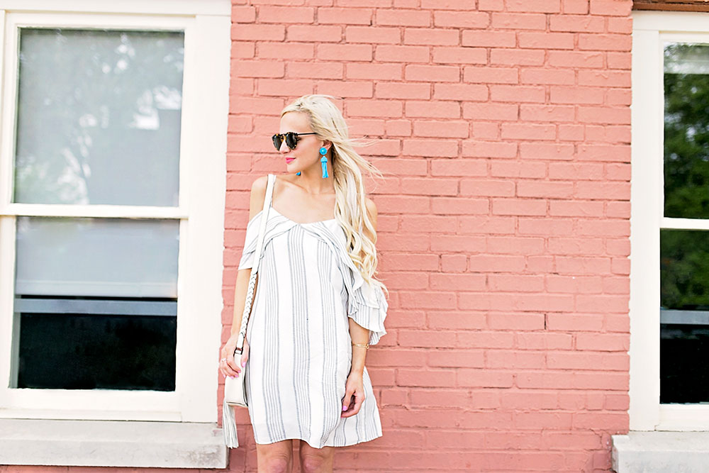 nordstrom cold shoulder white dress