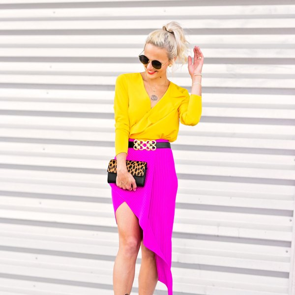 hot pink skirt outfit