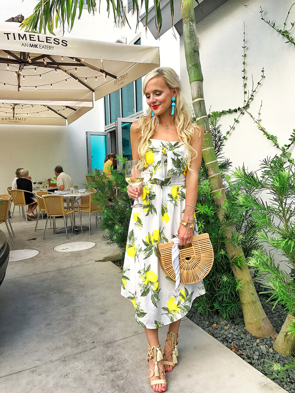 lemon print midi dress