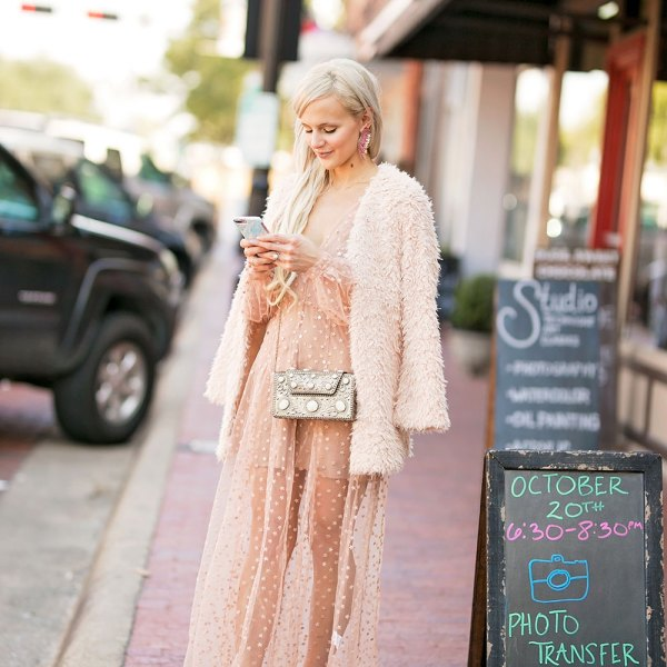 sheer long sleeve maxi dress