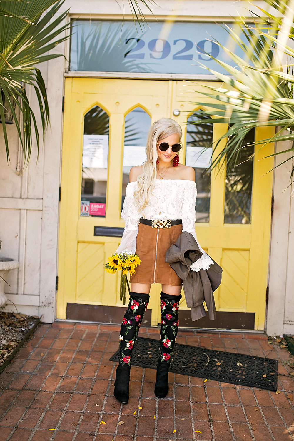 embroidered over the knee boots