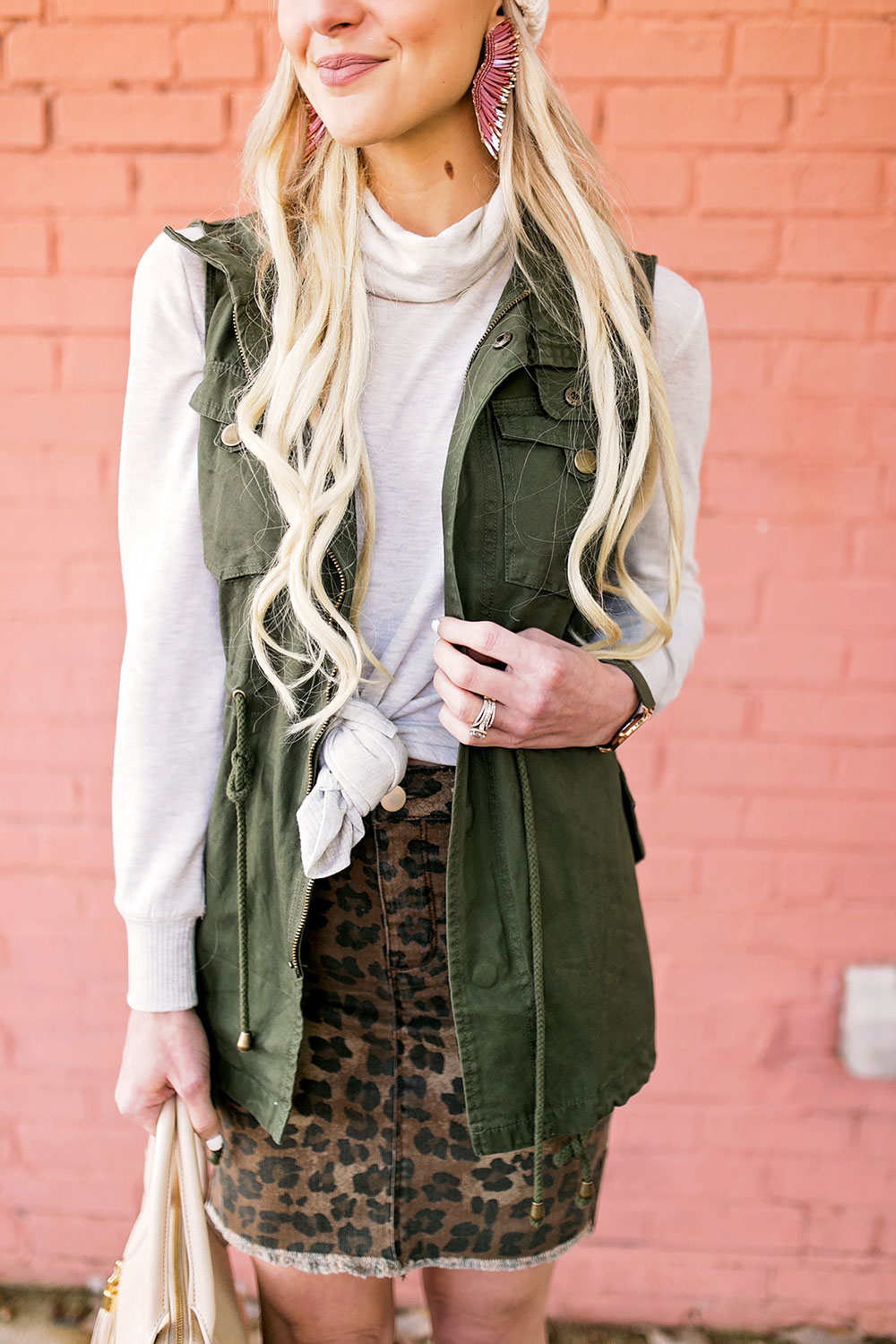 green military vest outfit