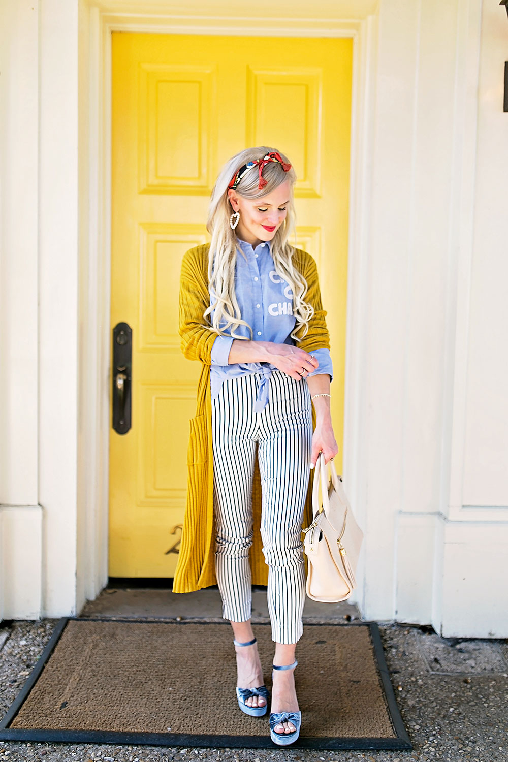 striped pants outfit
