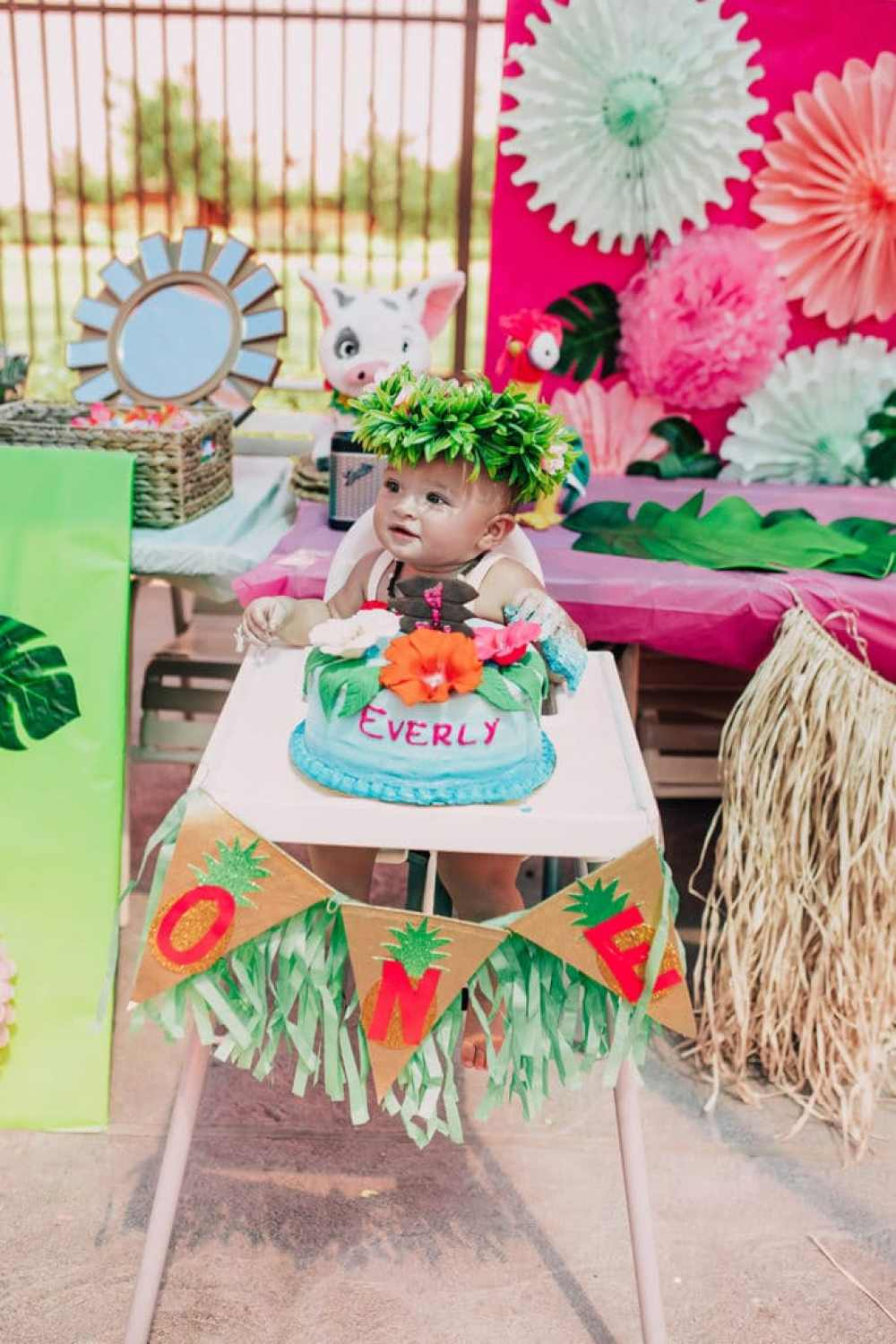 Stupendous Everlys Moana Inspired First Birthday Party Vandi Fair Funny Birthday Cards Online Inifodamsfinfo
