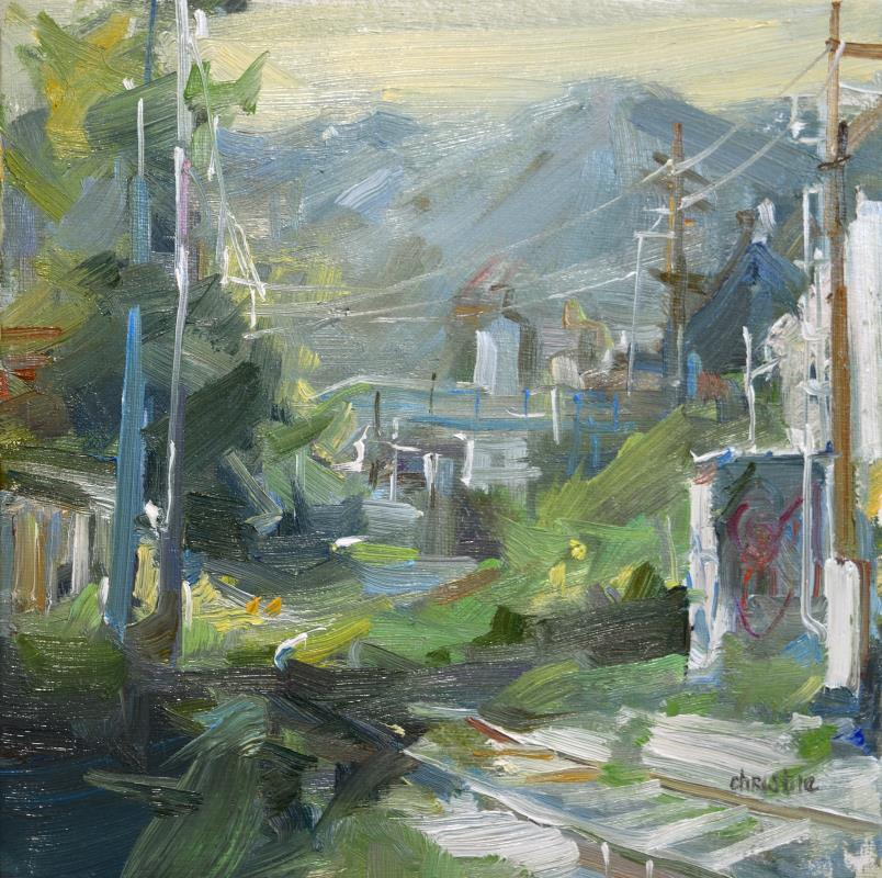 Landscape painting on canvas by Canadian Artist Leanne M Christie. Oil painting available to purchase locally in New Westminster, BC at Van Dop Art Gallery.