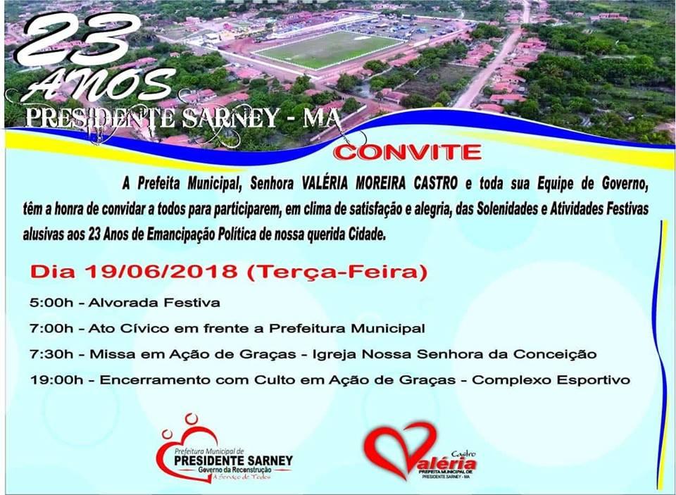 Prefeita Valéria Castro convida para Programação do aniversário de 23 anos de Pres. Sarney