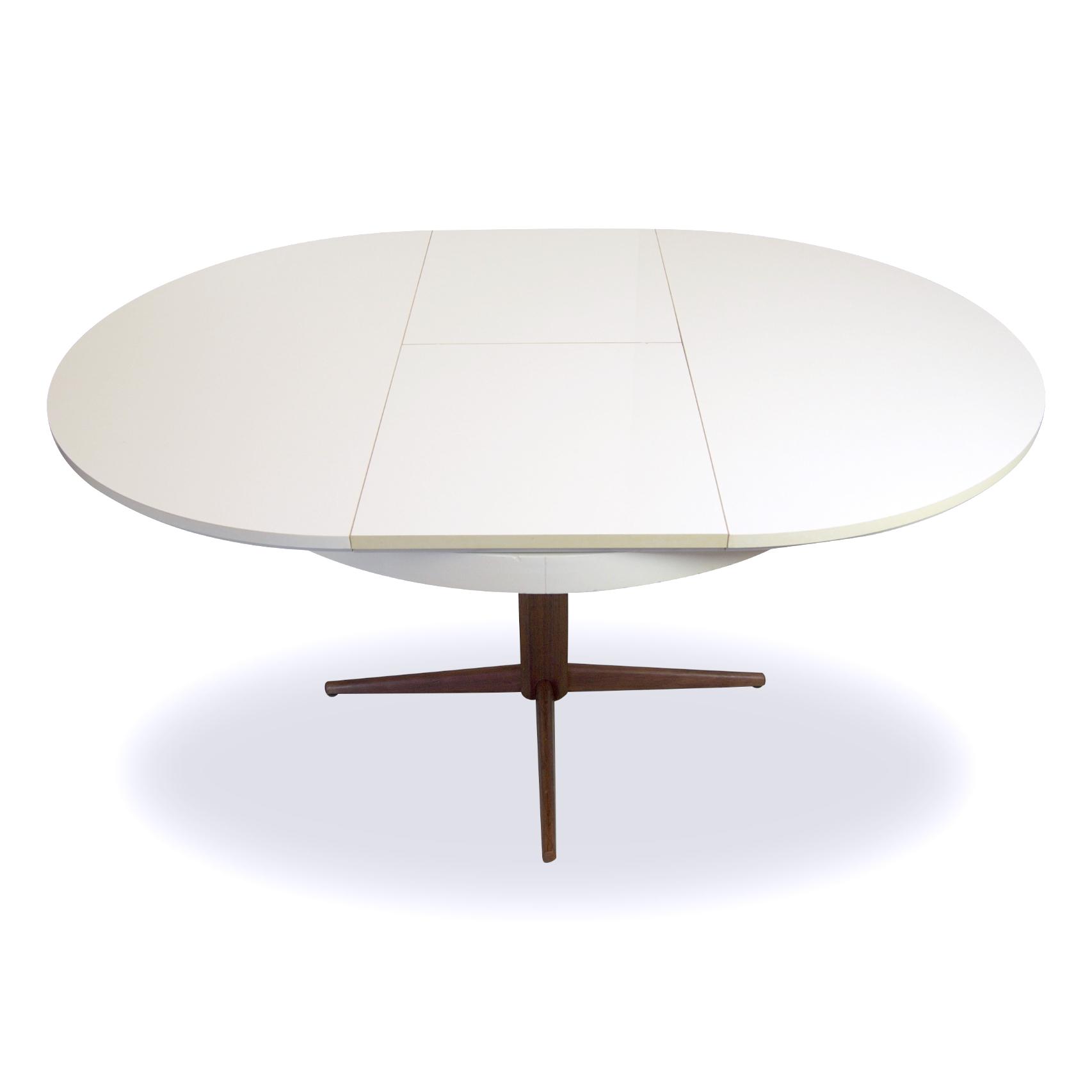 Eetkamertafel wit met houten blad deens design ronde eettafel op