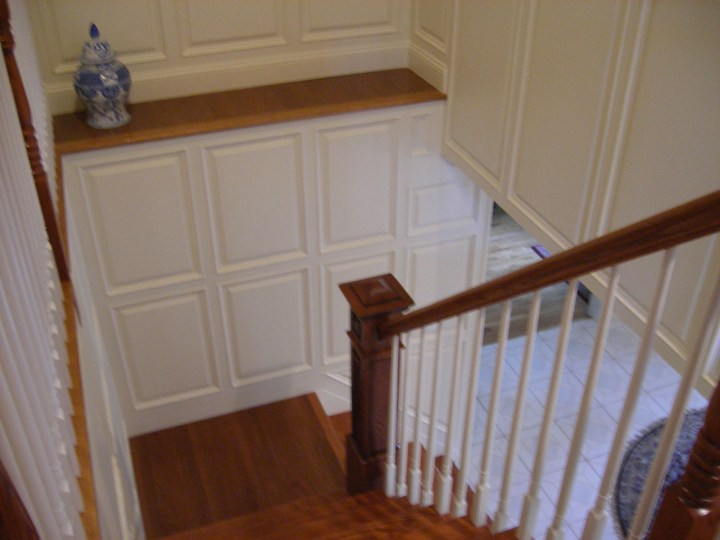 wainscotting in stairway
