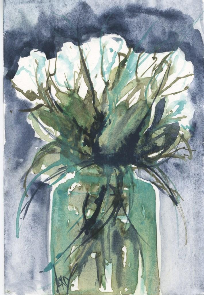 VMG018 White Roses card
