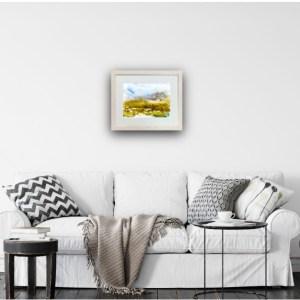 Salt Marsh Contours by Vandy Massey. 30 x 21 cm. Watercolour on yupo. Above sofa