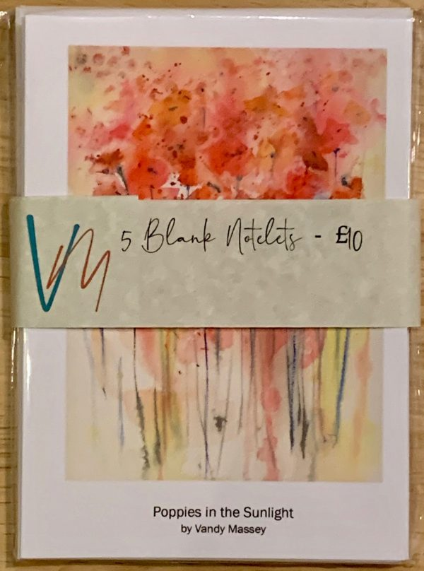 Packs of 5 notelets printed with images from original watercolours by Vandy Massey - Image: Poppies in the Sunlight