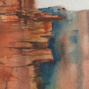 The Edge by Vandy Massey. 76 x 58 cm. Watercolour on hand made Two Rivers Paper. Detail 2