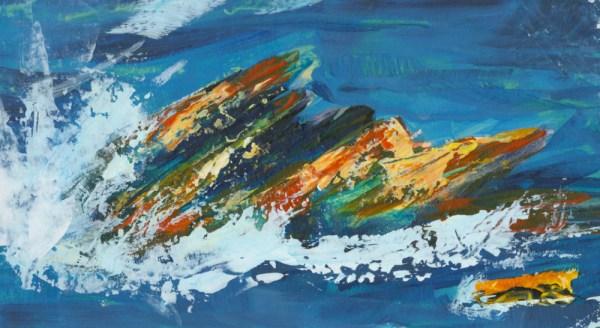 Trebarwith Surf by Vandy Massey. 44 x 28.5 cm. Acrylic on Board Detail 1