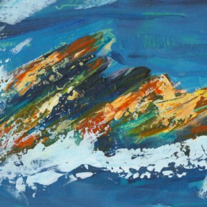 Trebarwith Surf by Vandy Massey. 44 x 28.5 cm. Acrylic on Board Detail 1