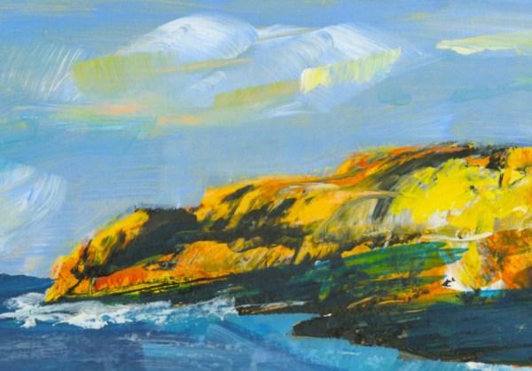 Trebarwith Surf by Vandy Massey. 44 x 28.5 cm. Acrylic on Board Detail 2