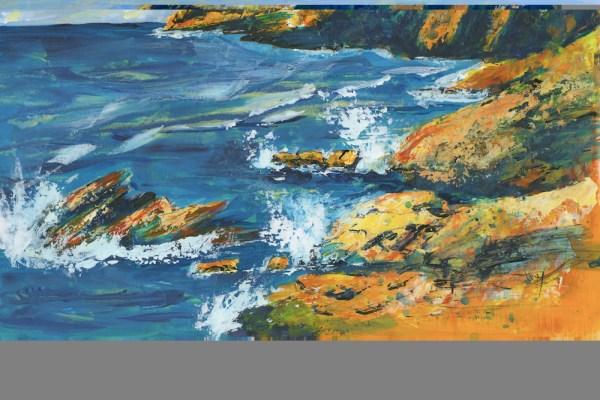 Trebarwith Surf by Vandy Massey. 44 x 28.5 cm. Acrylic on Board