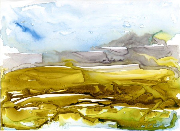 Salt Marsh Contours by Vandy Massey. 30 x 21 cm. Watercolour on yupo