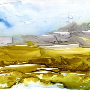 Salt Marsh Contours by Vandy Massey. 30 x 21 cm. Watercolour on yupo