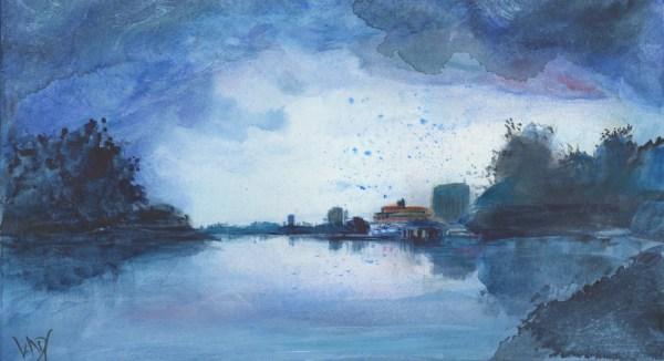 Stormy Carolinas by Vandy Massey. 31 x 20 cm. Mixed media on paper